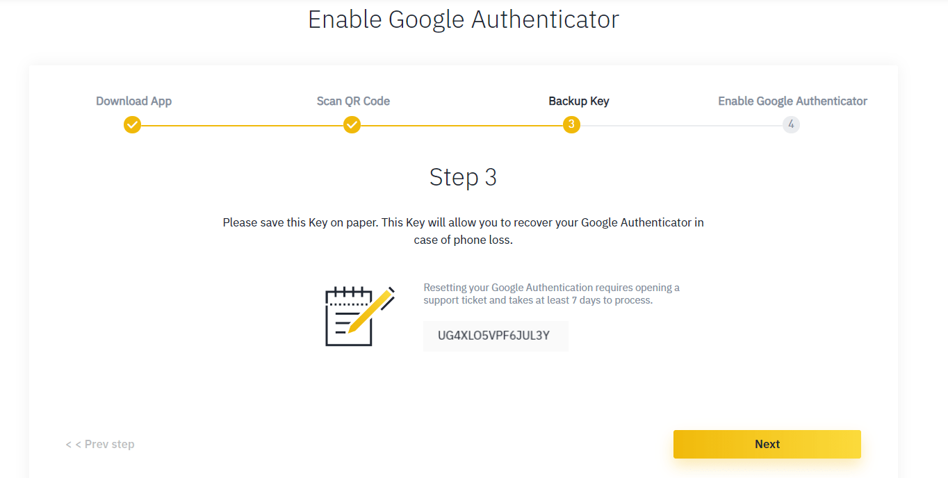 Binance guide step 14: 2FA activation